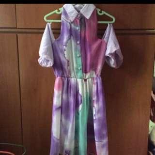 (Free NM) BN Rainbow Paddlepop Off-Shoulder dress