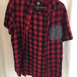 Cotton on short sleeve red flannel shirt