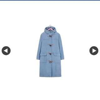 古著_藍灰色牛角扣純羊毛大衣