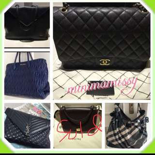 Chanel/ Miu Miu/ Burberry and other bags for sale