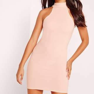 Misguided nude high neck / halter neck bodycon dress