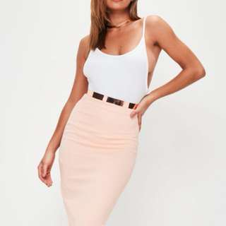 Misguided Nude / Peach Bodycon Skirt