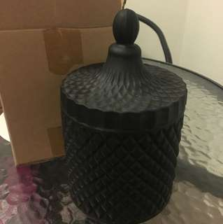 Large Matte Black Candle Vessle - unused