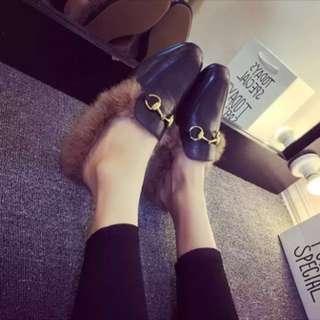 Plush half-slippers plus cashmere warm students lazy shoes