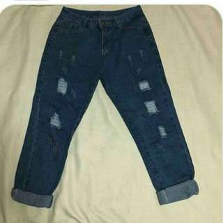 High waist tattered jeans