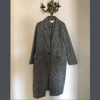 plaid houndstooth long jacket