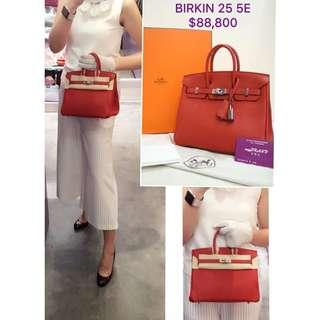 全新 HERMES Birkin 25 5E Vermillon 紅色 銀扣 手提袋 手挽袋 肩背袋 手袋 Leather Handbag in Red