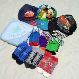 Get All!! Free SF! 3 Disney Caps, 6 pairs of Socks & Swaddle