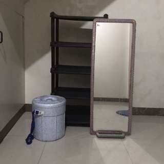 Shelves, standing mirror, cooler with free foreign foot mat