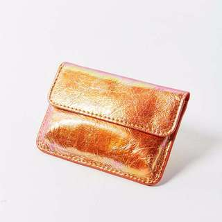 Urban Outfitters Iridescent Snap Card Case Orange