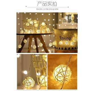 USB 浪漫 LED彩燈閃燈串燈 泰國藤球燈浪漫婚房裝飾燈 3m , 20 Lamps - B0004