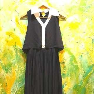 深藍色法式連身裙/長洋裝/百褶裙
