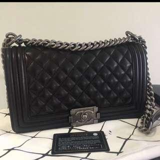 Chanel old medium boy bag with ruthenium hw