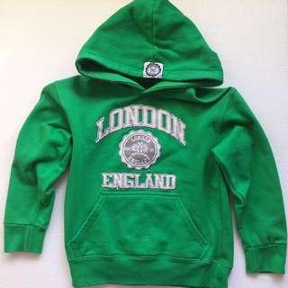 London England Green Hoodie Size 3 - 4