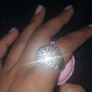 Free Postage -Rose Gold Chunky Statement Rhinestone jewellery  Ring Size S To M