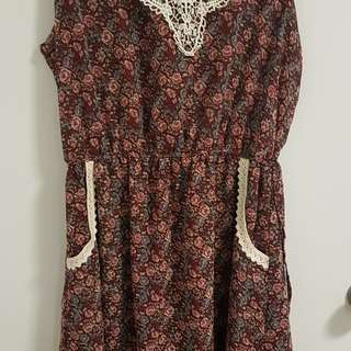 Maroon Printed Floral Dress with Pockets