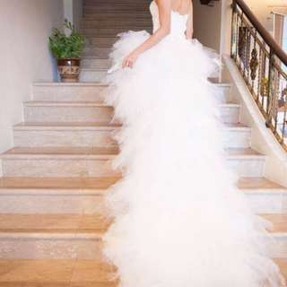 Feather wedding dress with train