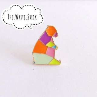 Origami Geometric Rainbow Bear Enamel Pin Instocks