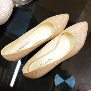新娘伴娘宴會服鞋粗跟結婚金白閃鞋