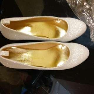 全新新娘伴娘宴會服鞋粗跟結婚銀白閃鞋