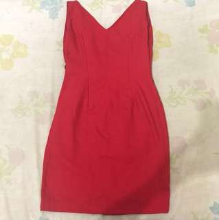 Red semi formal dress (low back with ribbon accent)
