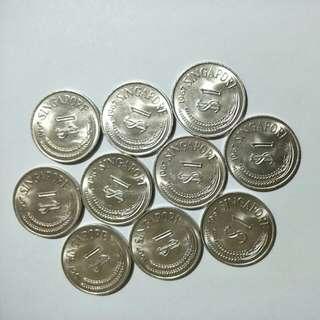 S'pore 1967 $1 (10pcs)