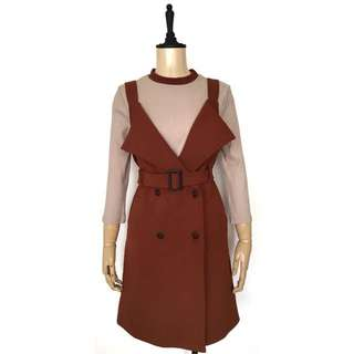 Trench Jumper Dress Set in RUST