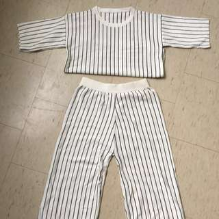 Two piece pant and top stripe