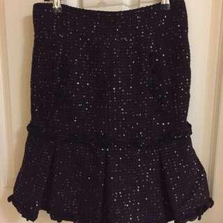 Chanel Burgundy Sequin Tweed Skirt