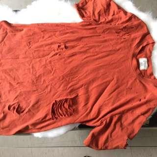 Ripped orange crew neck tshirt