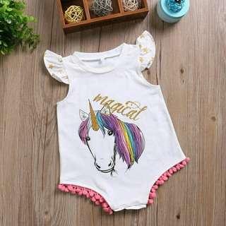 Unicorn baby girl rompers