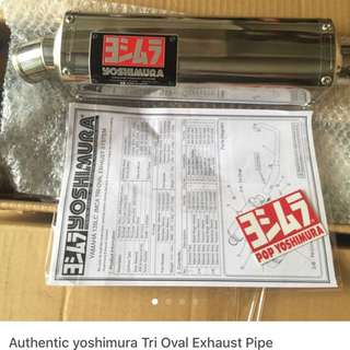 Authentic Yoshimura tri-oval exhaust pipe