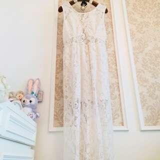 歐美單品牌H&M   牛奶白杏色 滿載鉤花簍空雕花蕾絲  圓領子性感透視美背透肌  女神款長版洋裝 優雅氣質連身長裙 長洋裝