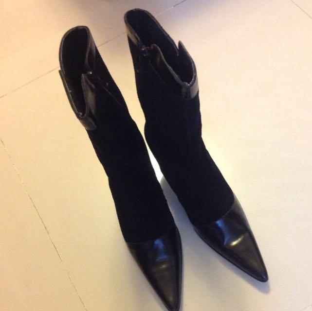 「二手鞋」黑色尖頭高跟鞋(靴型)僅試穿-37號