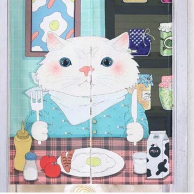 午餐貓門簾廚房簾全新可換物83×90公分