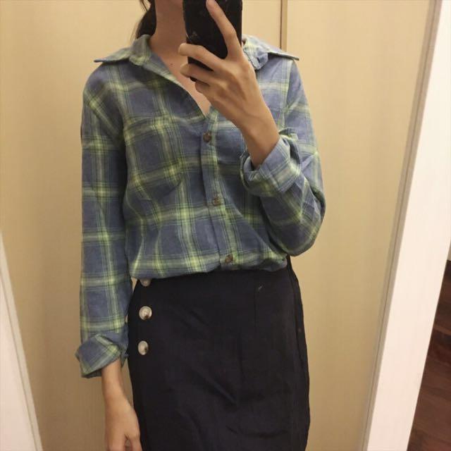 藍綠刷毛格紋襯衫