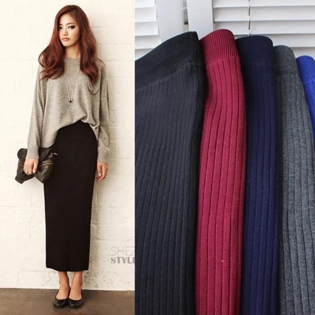 韩版新款弹力棉針織裙,毛線开叉包臀裙灰色