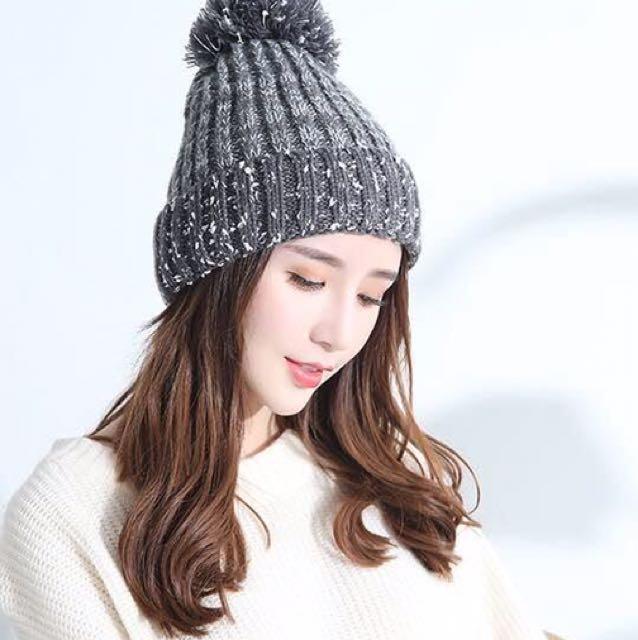 仿真毛球針織加厚毛線帽