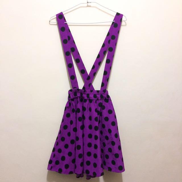 紫色點點吊帶裙