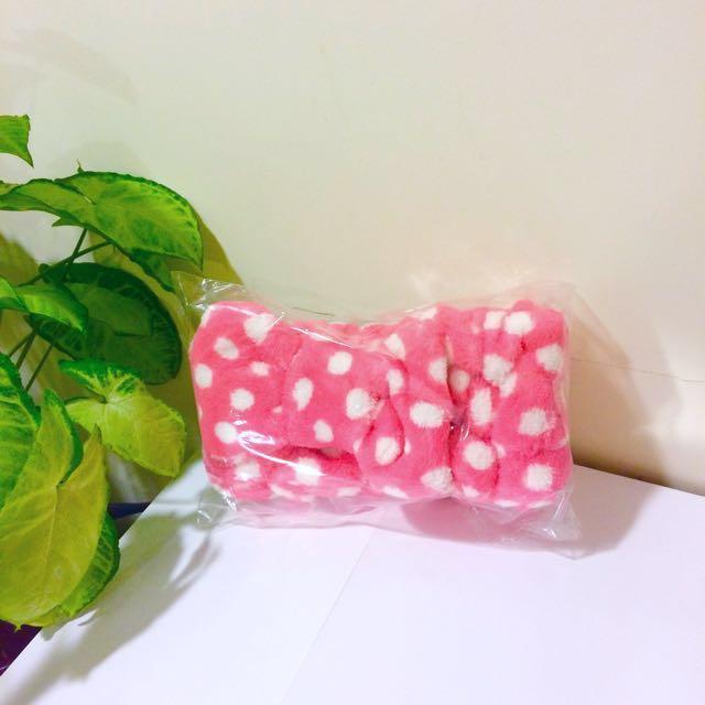 粉紅水玉點點蝴蝶結髮帶