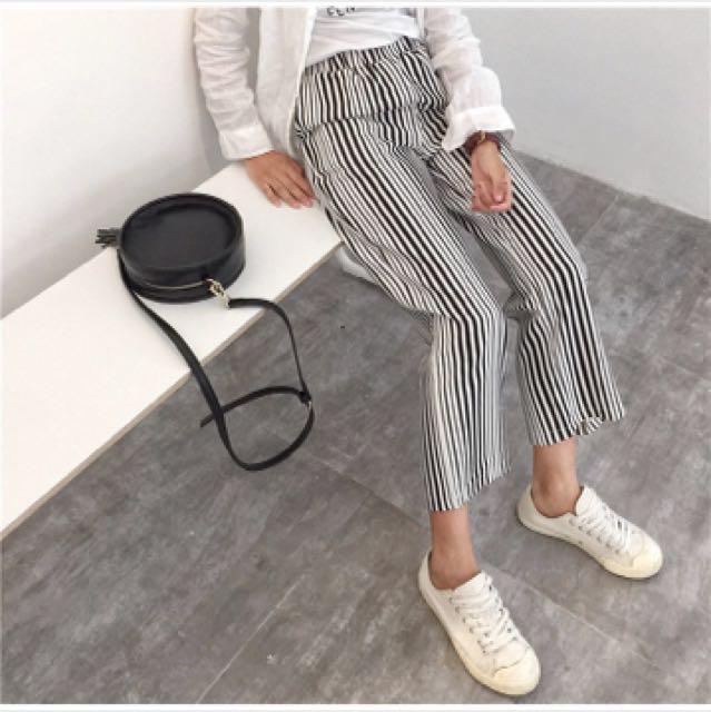 黑白條紋闊腿褲
