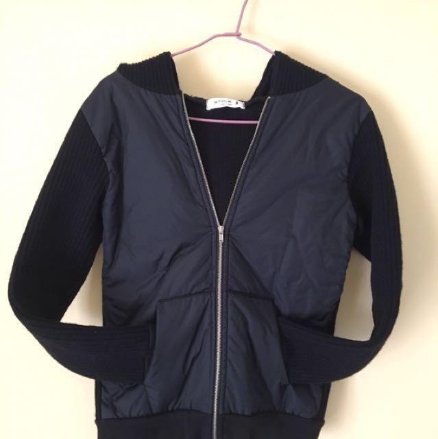 韓貨🔥連帽騎士風防風針織外套