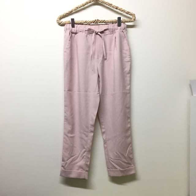 雪紡反摺老爺褲 粉色