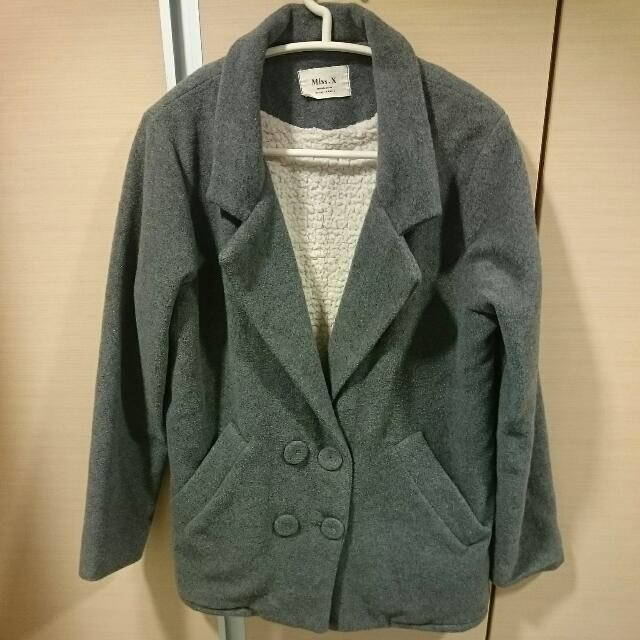 灰色羔羊毛大衣外套 #秋冬必備