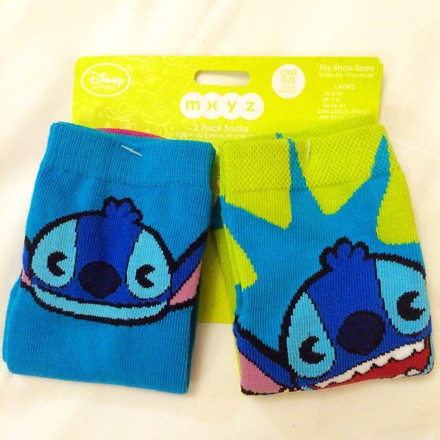 迪士尼 史迪奇藍綠拼色襪子一組兩雙