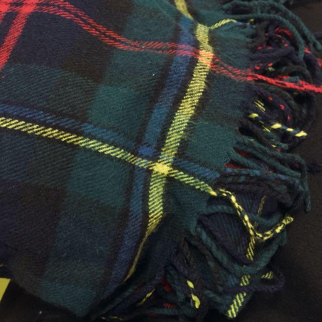 蘇格蘭條紋 連帽披巾 圍巾