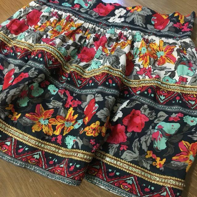 圖騰短裙 花 民族風 迷你裙
