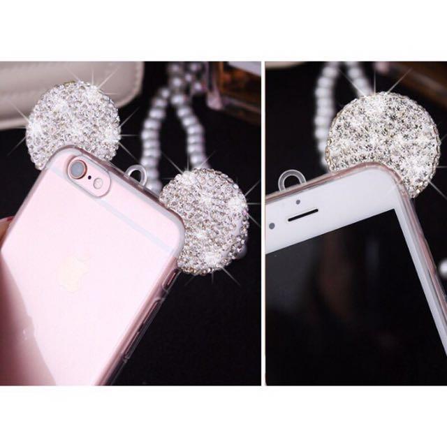 米奇鑲鑽耳朵 iPhone 6plus 5.5吋 保護套 掛繩手機殼