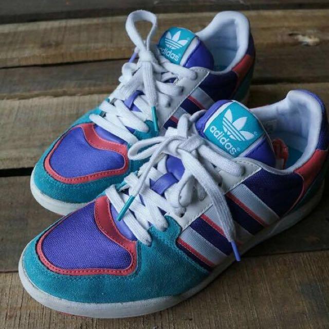 Adidas 湖水綠配色麂皮拼接古著simple鞋 vintage