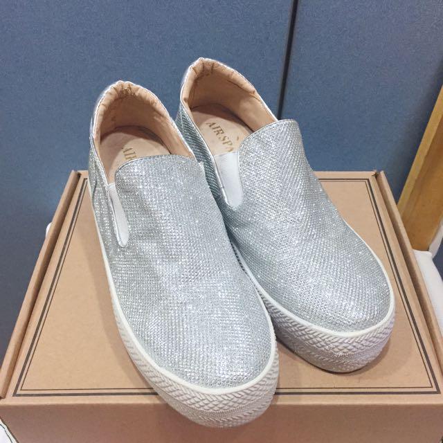 Air space 亮銀色厚底增高休閒鞋 懶人鞋